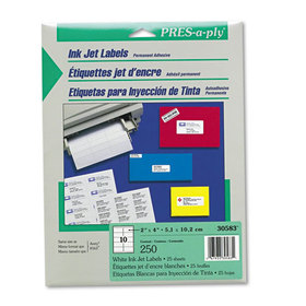 Pres-A-Ply Inkjet Address Labels, 2 x 4, White, 250/Pack, Price/PK