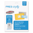 AVERY-DENNISON AVE30617 Laser Address Labels, 1/2 X 1 3/4, White, 2000/pack