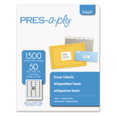 AVERY-DENNISON AVE30620 Laser Address Labels, 1 X 2 5/8, Clear, 1500/box