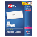 AVERY-DENNISON AVE45160 Shipping Labels With Trueblock Technology, 1 X 2 5/8, White, 7500/box