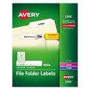 AVERY-DENNISON AVE5366 Permanent File Folder Labels, Trueblock, Inkjet/laser, White, 1500/box