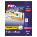 AVERY-DENNISON AVE5874 Two-Side Printable Clean Edge Business Cards, Laser, 2 X 3 1/2, White, 1000/box