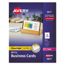AVERY-DENNISON AVE5877 Two-Side Printable Clean Edge Business Cards, Laser, 2 X 3 1/2, White, 400/box