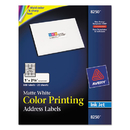 AVERY-DENNISON AVE8250 Color Printing Mailing Labels, 1 X 2 5/8, Matte White, 600/pack
