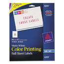 AVERY-DENNISON AVE8255 Color Printing Mailing Labels, 8 1/2 X 11, Matte White, 20/pack