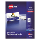 AVERY-DENNISON AVE8471 Printable Microperf Business Cards, Inkjet, 2 X 3 1/2, White, Matte, 1000/box