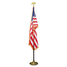 "Indoor 3' X 5' U.S. Flag, 8 Ft. Oak Staff, 2"" Gold Fringe, 7"" Goldtone Eagle Top, Price/EA"