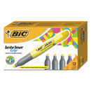 BIC CORPORATION BICBLMG11YW Brite Liner Grip Highlighter, Chisel Tip, Fluorescent Yellow, Dozen