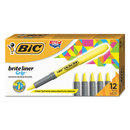 BIC CORPORATION BICGBL11YW Brite Liner Grip Pocket Highlighter, Chisel Tip, Fluorescent Yellow, Dozen
