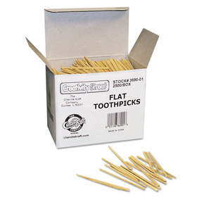 THE CHENILLE KRAFT COMPANY CKC369001 Flat Wood Toothpicks, Wood, Natural, 2500/Pack