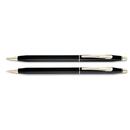A.T. CROSS COMPANY CRO250105 Classic Century Ballpoint Pen & Pencil Set, Black/23 Kt. Gold Accents