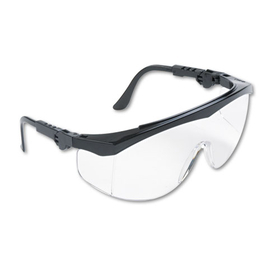 CREWS, INC. CRWTK110 Tomahawk Wraparound Safety Glasses, Black Nylon Frame, Clear Lens, 12/Box