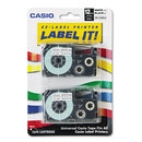 CASIO ENTERPRISES CSOXR12WE2S Tape Cassettes For Kl Label Makers, 12mm X 26ft, Black On White, 2/pack