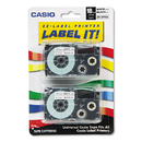 CASIO ENTERPRISES CSOXR18WE2S Tape Cassettes For Kl Label Makers, 18mm X 26ft, Black On White, 2/pack