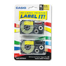 CASIO ENTERPRISES CSOXR18YW2S Tape Cassettes For Kl Label Makers, 18mm X 26ft, Black On Yellow, 2/pack