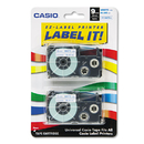 CASIO ENTERPRISES CSOXR9WEB2S Tape Cassettes For Kl Label Makers, 9mm X 26ft, Blue On White, 2/pack