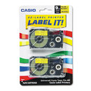 CASIO ENTERPRISES CSOXR9YW2S Tape Cassettes For Kl Label Makers, 9mm X 26ft, Black On Yellow, 2/pack