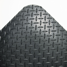 Industrial Deck Plate Anti-Fatigue Mat, Vinyl, 36 x 144, Black, Price/EA