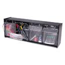 DEFLECTO CORPORATION DEF20404OP Tilt Bin Plastic Storage System W/4 Bins, 23 5/8 X 6 5/8 X 8 1/8, Black
