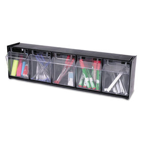 DEFLECTO CORPORATION DEF20504OP Tilt Bin Plastic Storage System w/5 Bins, 23 5/8 x 5 1/4 x 6 1/2, Black, Price/EA