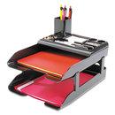DEFLECTO CORPORATION DEF583004 Corporate Desk Tray Set, Two Tier, Plastic, Metallic Black