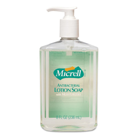 MICRELL Antibacterial Lotion Soap, Unscented Liquid, 8 oz Pump, 12/Carton, Price/CT