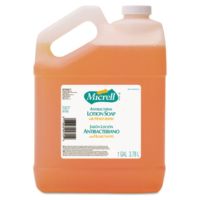 MICRELL Antibacterial Lotion Soap, Unscented Liquid, 1 gal Bottle, 4/Carton, Price/CT