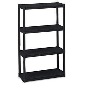 Rough N Ready 4 Shelf Open Storage System, Resin, 32w x 13d x 54h, Black, Price/EA