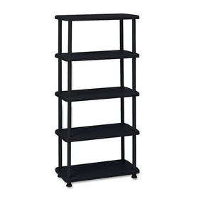 Rough N Ready 5 Shelf Open Storage System, Resin, 36W X 18D X 74H, Black, Price/EA