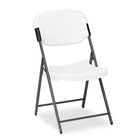 Rough N Ready Series Resin Folding Chair, Steel Frame, Platinum, Price/EA