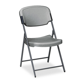 Rough N Ready Series Resin Folding Chair, Steel Frame, Charcoal, Price/EA