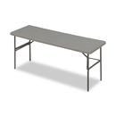ICEBERG ENTERPRISES ICE65387 Indestructables Too 1200 Series Resin Folding Table, 72w X 24d X 29h, Charcoal