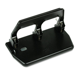 "40-Sheet Heavy-Duty Three-Hole Punch, 9/32"" Holes, Gel Pad Handle, Black"