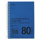 Spiral Bound 1 Subject Notebook, College Rule, 5 X 7, White, 80 Sheets/Pad