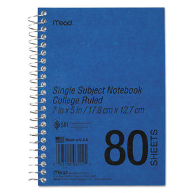 Spiral Bound 1 Subject Notebook, College Rule, 5 x 7, White, 80 Sheets/Pad, Price/EA