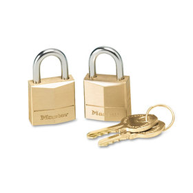 "Three-Pin Brass Tumbler Locks, 3/4"" Wide, 2 Locks & 2 Keys, 2/Pack, Price/PK"