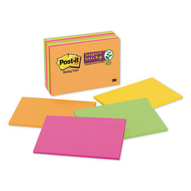 3M/COMMERCIAL TAPE DIV. MMM6445SSP Super Sticky Large Format Notes, 6 x 4, Electric Glow, 8 45-Sheet pads/Pack, Price/PK