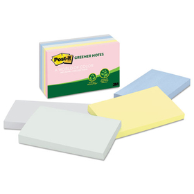 Recycled Pastel Notes, 3 X 5, Sunwashed Pier, 5 100-Sheet Pads/Pack, Price/PK