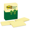 3M/COMMERCIAL TAPE DIV. MMM655RPYW Greener Original Recycled Note Pads, 3 X 5, Canary Yellow, 100-Sheet, 12/pack