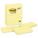 3M/COMMERCIAL TAPE DIV. MMM655YW Original Pads In Canary Yellow, 3 X 5, 100-Sheet, 12/pack