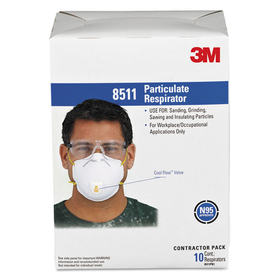 3M/COMMERCIAL TAPE DIV. MMM8511 Particulate Respirator w/Cool Flow Exhalation Valve, 10 Masks/Box, Price/BX