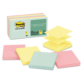 3M/COMMERCIAL TAPE DIV. MMMR33012AP Pop-Up Note Refills, 3 x 3, Pastel, 12 100-Sheet Pads/Pack, Price/PK