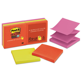 Pop-Up Refill, 3 x 3, 4 Electric Glow Colors, 6 90-Sheet Pads/Pack, Price/PK