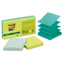 3M/COMMERCIAL TAPE DIV. MMMR3306SST Pop-Up Recycled Notes In Bora Bora Colors, 3 X 3, 90-Sheet, 6/pack
