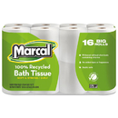 MARCAL MRC1646616PK 100% Recycled Two-Ply Toilet Tissue, White, 16 Rolls/pack