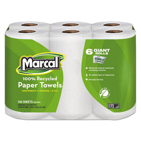 "100% Premium Recycled Giant Roll Towels, 5 3/4"" X 11"", 140/Roll, 24 Rolls/Carton, Price/CT"
