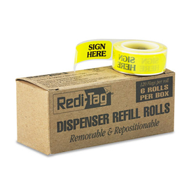 "Message Right Arrow Flag Refills, ""Sign Here"", Yellow, 6 Rolls Of 120 Flags, Price/BX"