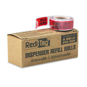 "Message Right Arrow Flag Refills, ""Sign Here"", Red, 6 Rolls of 120 Flags/Box, Price/BX"