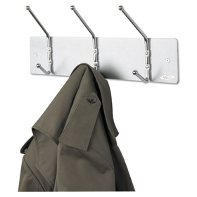 Wall Rack, Three Ball-Tipped Double-Hooks, Metal, Satin Aluminum, Price/EA