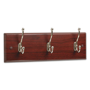 SAFCO PRODUCTS SAF4216MH Wood Wall Rack, Three Double-Hooks, 18w X 3-1/4d X 6-3/4h, Mahogany